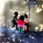 Banksy with little supporter.